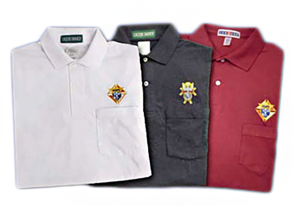 Embroidered with your council info under logo and your name on right chest Knights of columbus polo 100 /% Polyester shirt 6xl Small