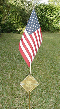 No. 2180F - Memorial Grave Marker with US Flag