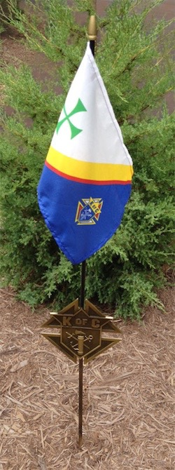 No. 2180K - Memorial Grave Marker with KofC Flag