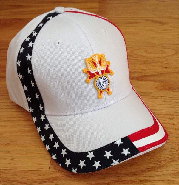 No. 585-WHITE - U.S.A. Cap with 4th Degree Emblem
