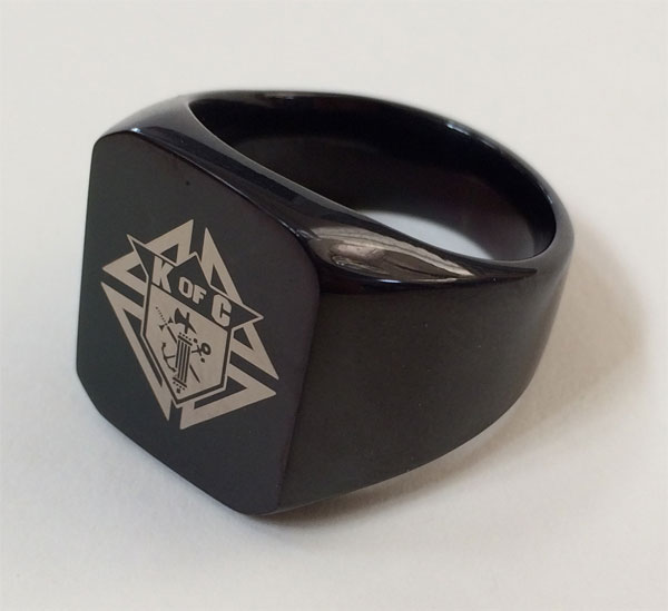 No. BK-100 - KofC Laser Etched Black Plated Steel Ring