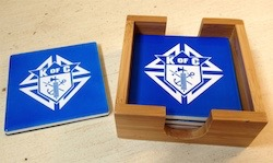 No. CST23 - Blue Coaster Set w/Bamboo Holder