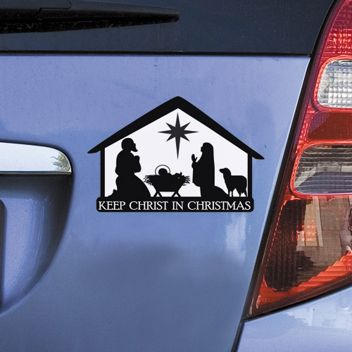 Nativity Stable Christmas Auto Magnet