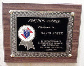 Service Award Plaque Knights Of Columbus Supplies