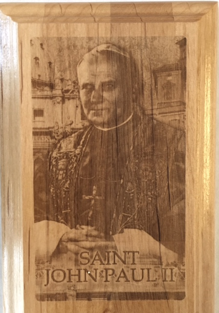 No. P444 - Saint John Paul II Wood Plaque