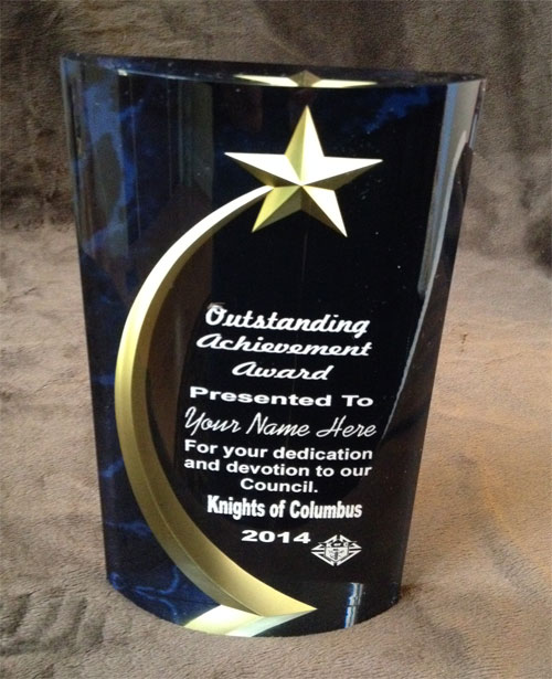 Blue Marbleized rounded Shooting Star Acrylic Award
