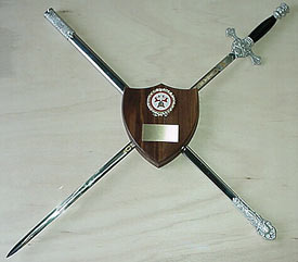 The Original K of C Sword Holder - Plaque and Sword