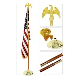 U.S.A. Flag with Pole,Stand,Gold Tassel, Gold Eagle