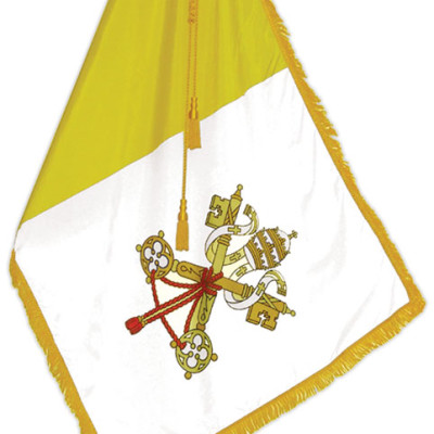 Papal Flag with Pole, Stand, Gold Tassel, Gold Cross