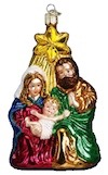 10132 - Holy Family Glass Christmas Ornament