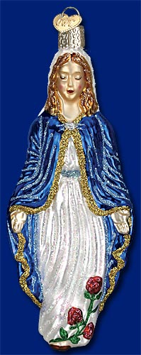 10188 - Blessed Virgin Mary Glass Christmas Ornament