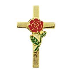 Rose Cross Lapel Pin