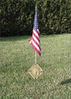 2180F - Memorial Grave Marker with US Flag