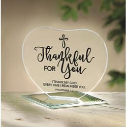 Thankful for You Glass Heart Stand