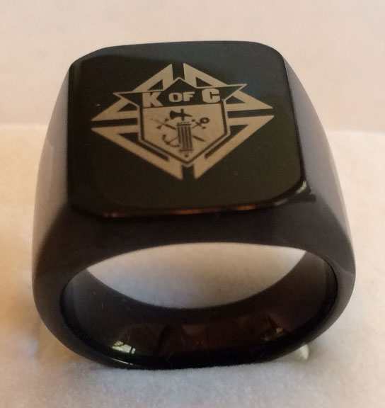 KofC Laser Etched Black Plated Steel Ring