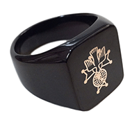 BK-200 - 4th Degree Laser Etched Black Plated Steel Ring