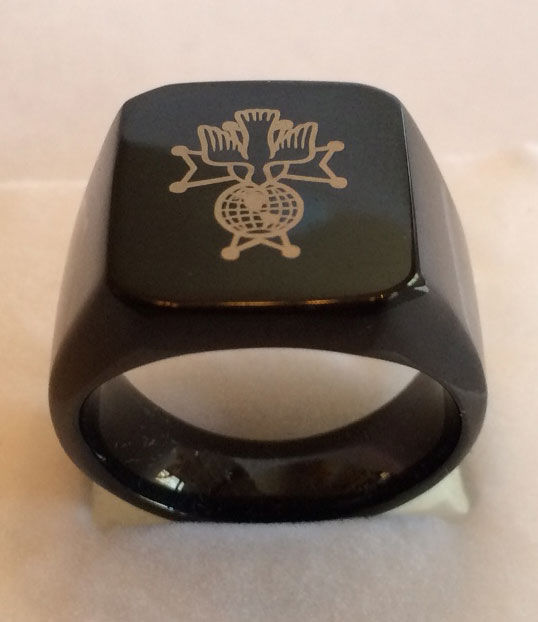 4th Degree Laser Etched Black Plated Steel Ring