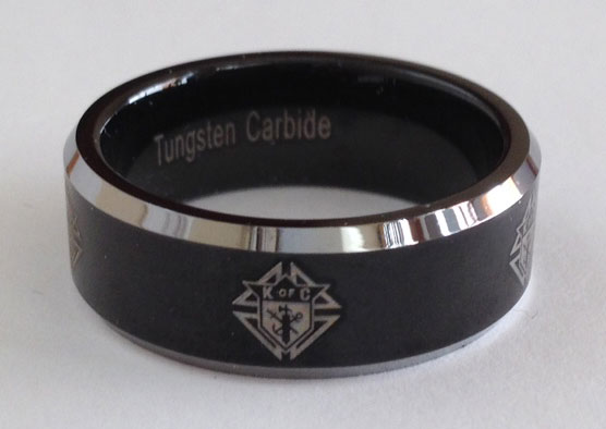 Laser KofC Laser Etched Tungsten Carbide Ring
