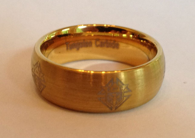 KofC Laser Etched Tungsten Carbide Ring