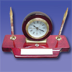 GF4881 - Rosewood Clock & Pen Set