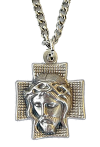 Head of Christ Necklace on Silver Chain