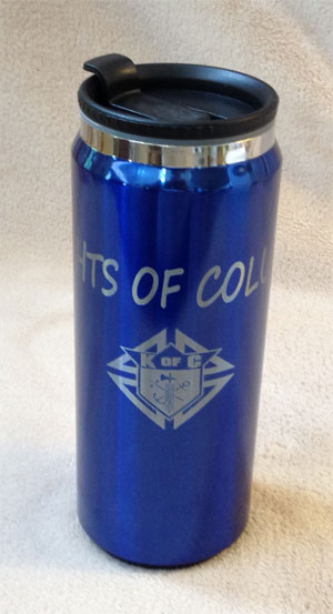 "No. LTM053 -  KofC Blue ""Can"" Travel Mug"