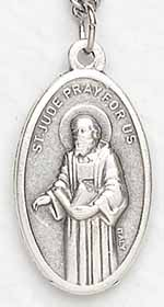 St. Jude Medal on Silver Chain