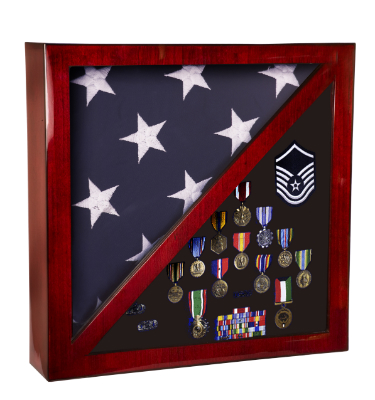 Rosewood Piano Finish Flag & Memorabilia Display Case