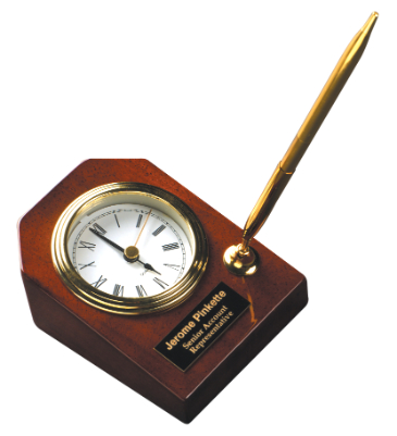 Desk Clock w/ Pen Plaque