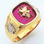 Fourth Degree Ring shown with Ruby Stone
